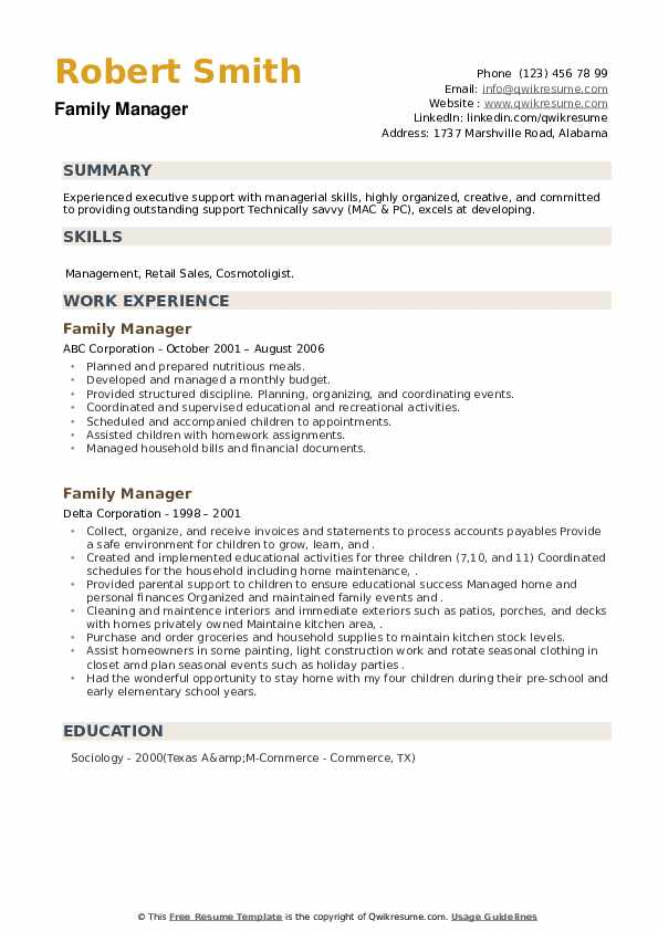 Family Manager Resume example