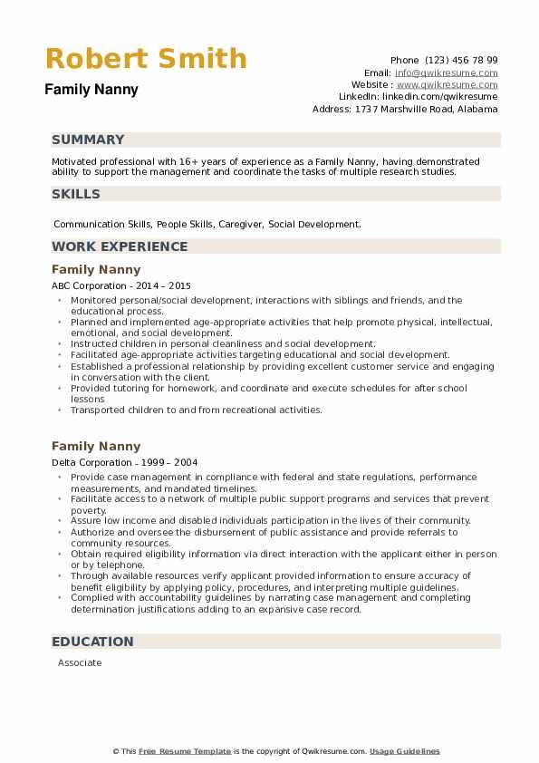 Family Nanny Resume example