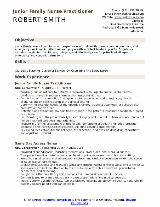 Junior Family Nurse Practitioner Resume Format