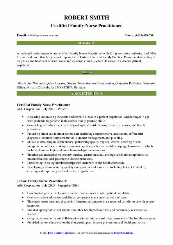 Certified Family Nurse Practitioner Resume Model