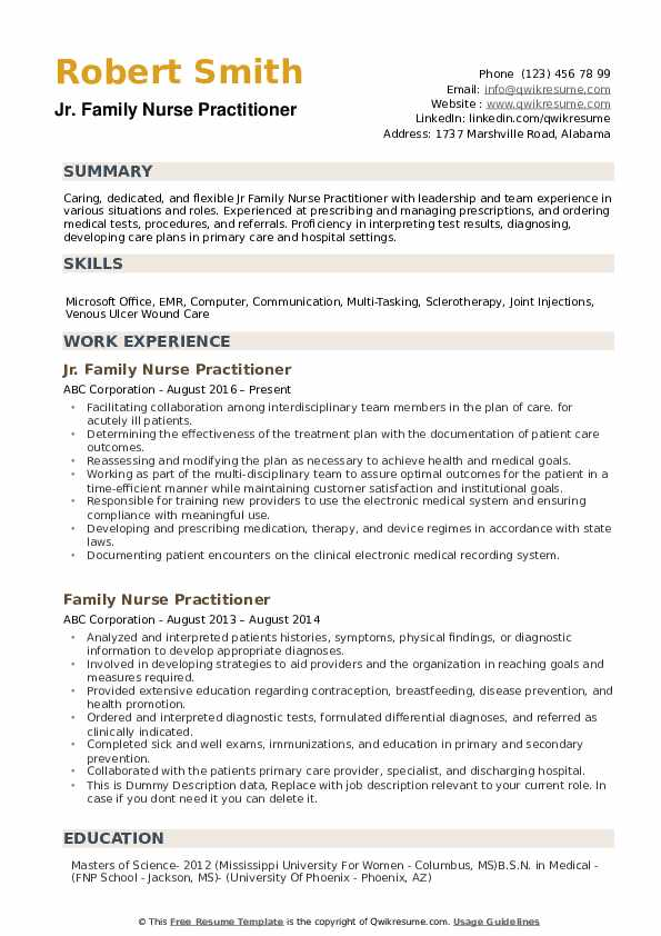 Family Nurse Practitioner Resume Samples Qwikresume