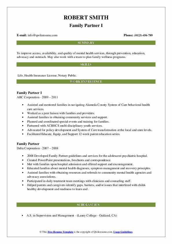 family partner resume samples  qwikresume