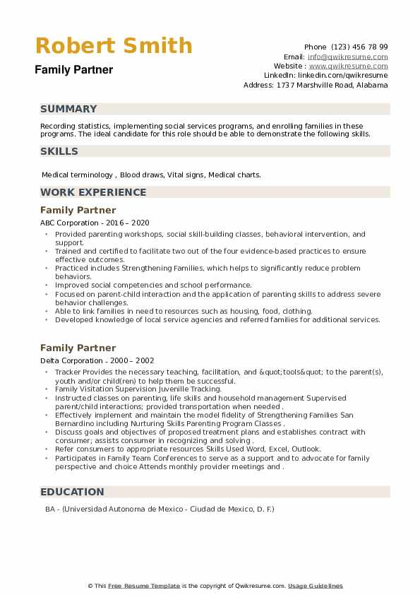 Family Partner Resume example