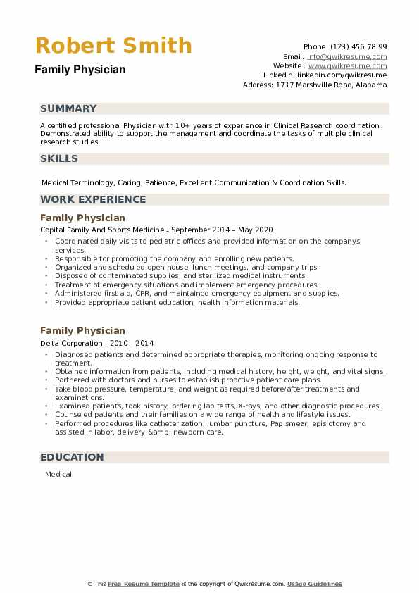 Family Physician Resume example