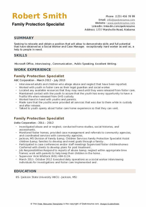Family Protection Specialist Resume example