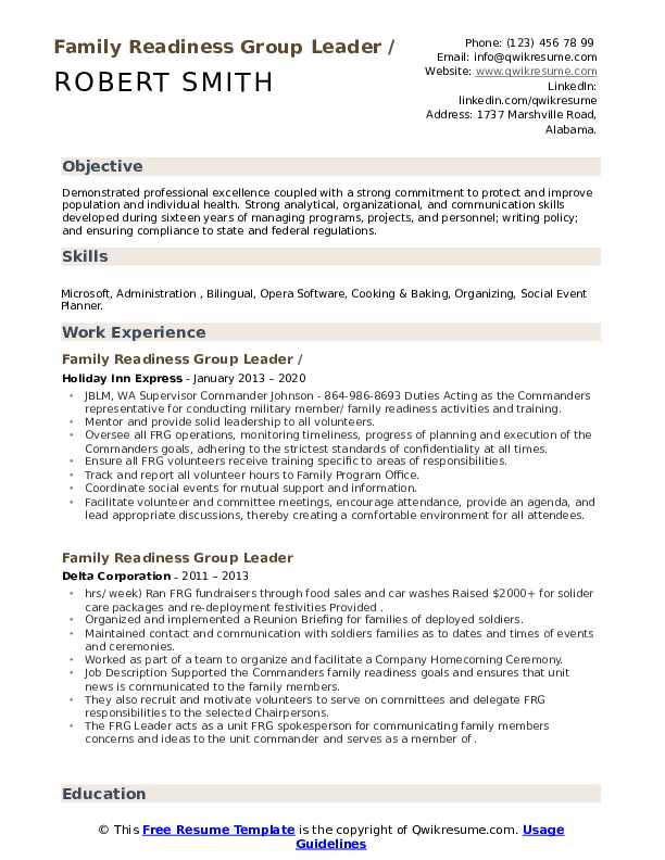 Family Readiness Group Leader Resume example