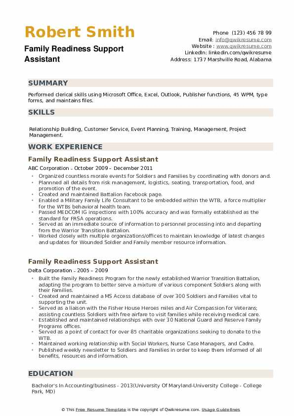 Family Readiness Support Assistant Resume example