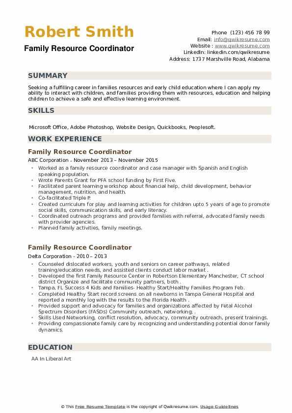 Family Resource Coordinator Resume example