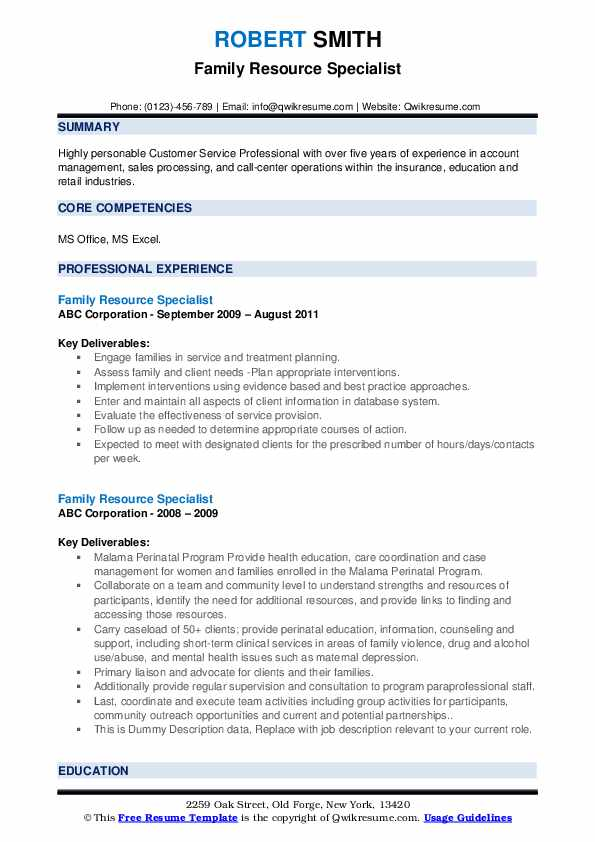 Family Resource Specialist Resume example