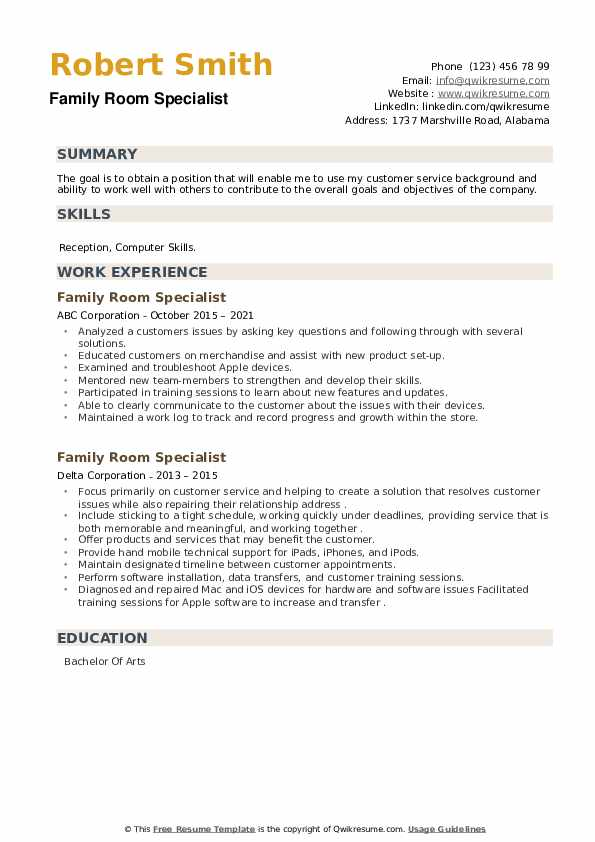 Family Room Specialist Resume example