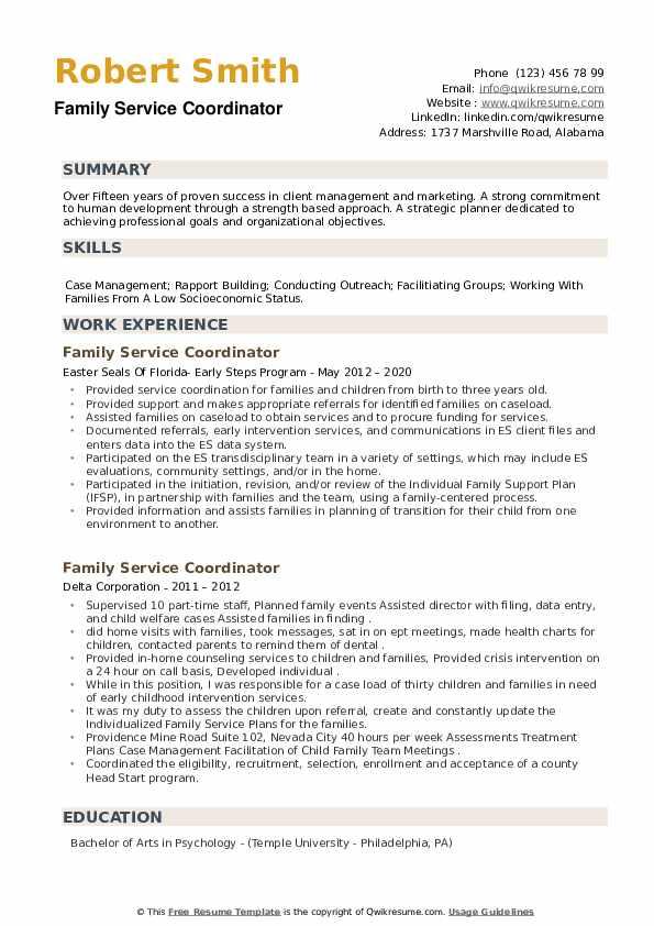 Family Service Coordinator Resume example