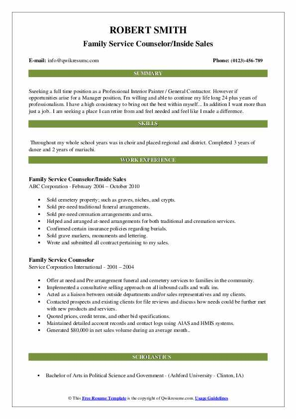 Family Service Counselor/Inside Sales Resume Example