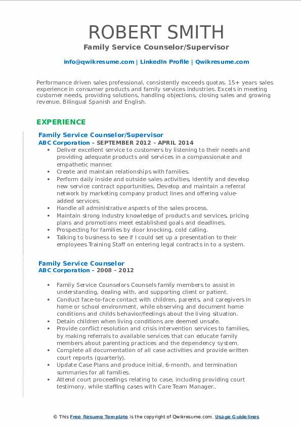 Family Service Counselor/Supervisor Resume Format