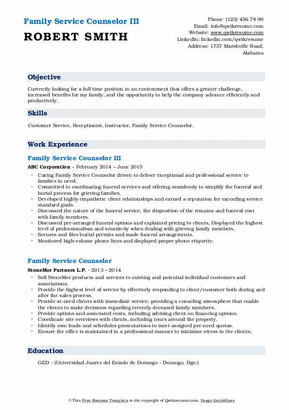 Family Service Counselor III Resume Format