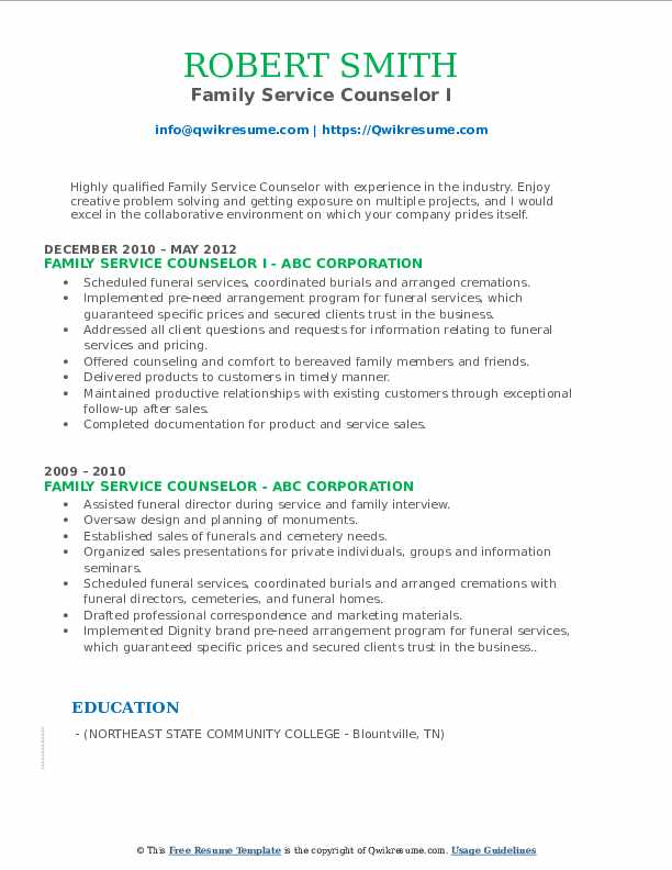 Family Service Counselor I Resume Format