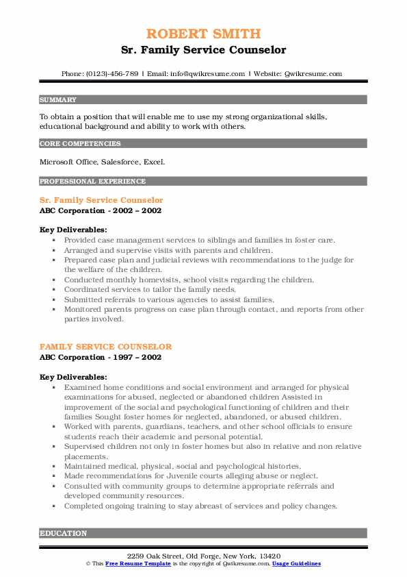Sr. Family Service Counselor Resume Format