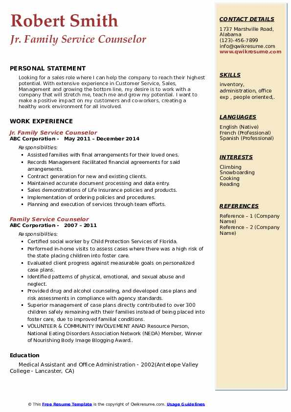 Jr. Family Service Counselor Resume Template