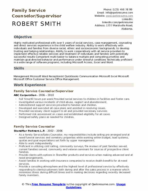 Family Service Counselor/Supervisor Resume Example