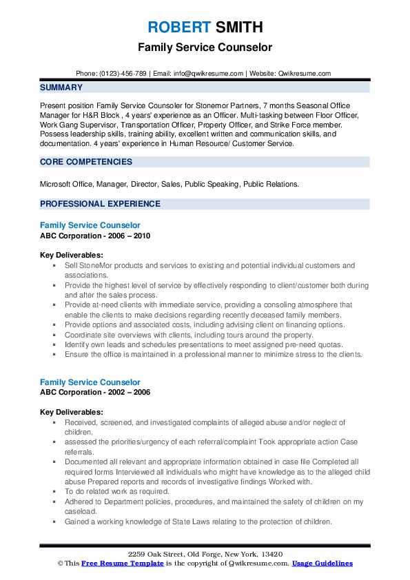 Family Service Counselor Resume example