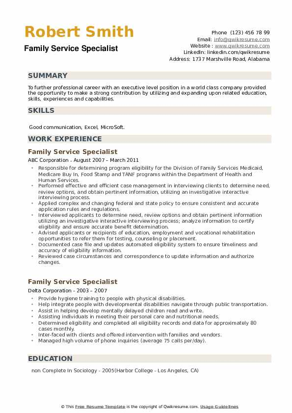 Family Service Specialist Resume example