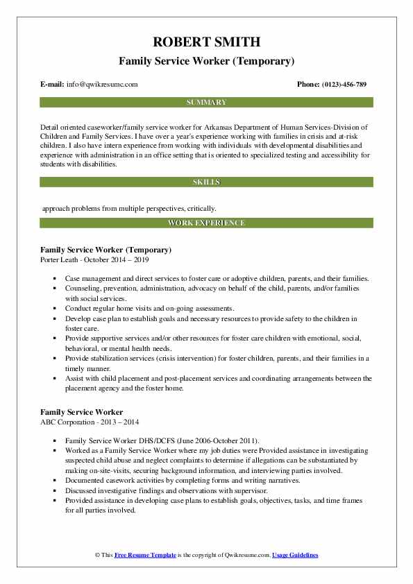 Family Service Worker (Temporary) Resume Example