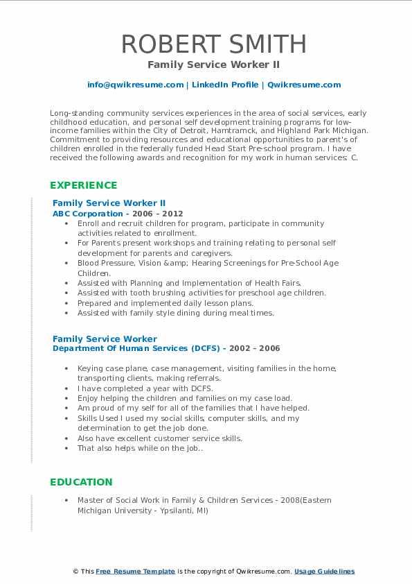 Family Service Worker II Resume Model