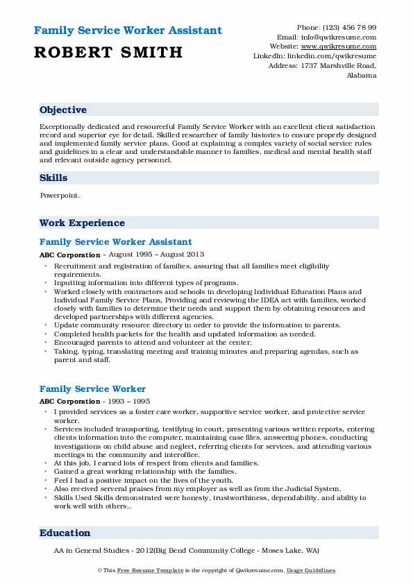 family service worker resume samples