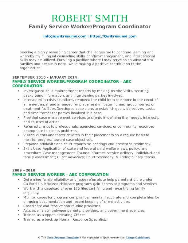 Family Service Worker/Program Coordinator Resume Sample