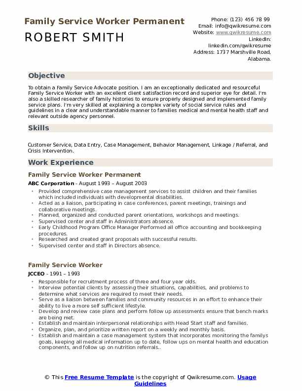 Family Service Worker Resume Samples Qwikresume