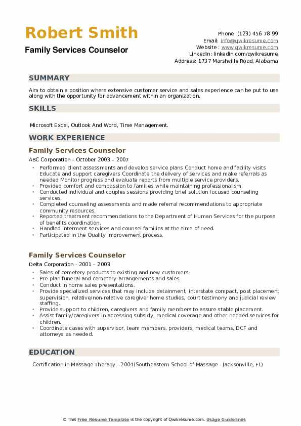 Family Services Counselor Resume example