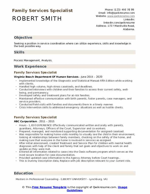 Family Services Specialist Resume example