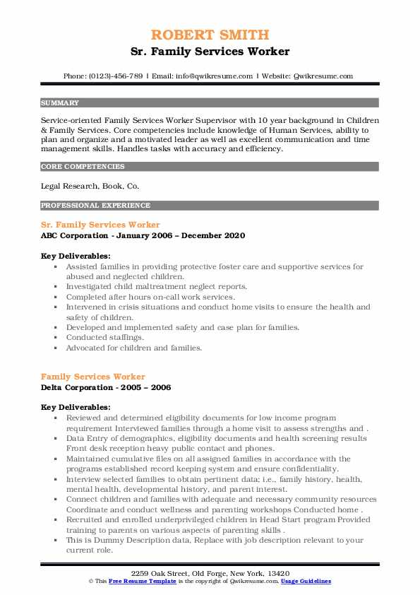 Family Services Worker Resume example