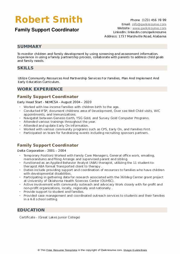 Family Support Coordinator Resume example