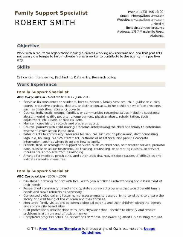 Family Support Specialist Resume Sample