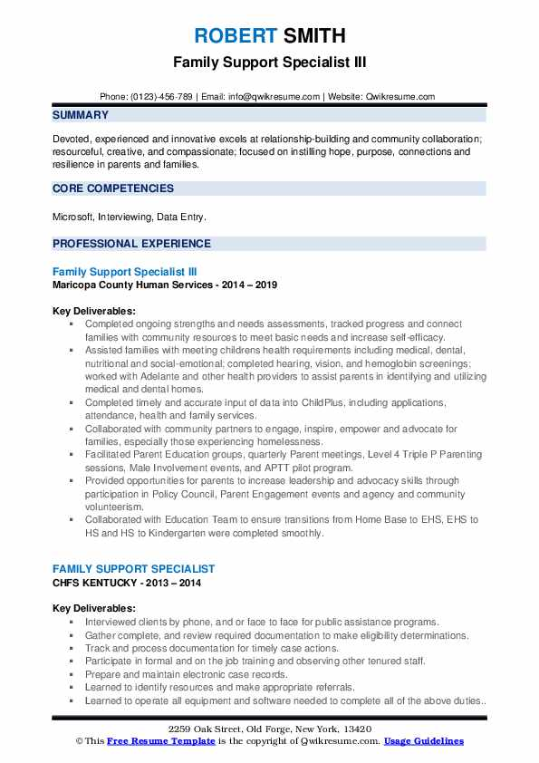 Family Support Specialist III Resume Example