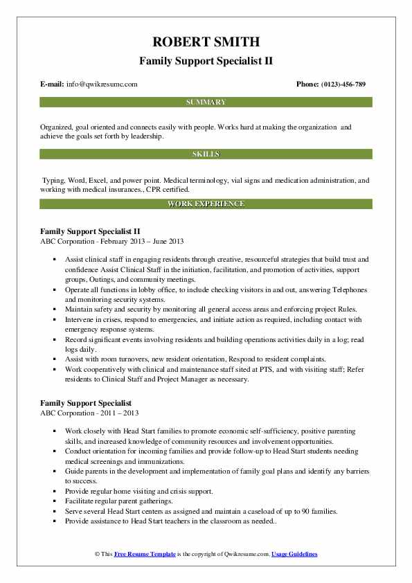 Family Support Specialist II Resume Example