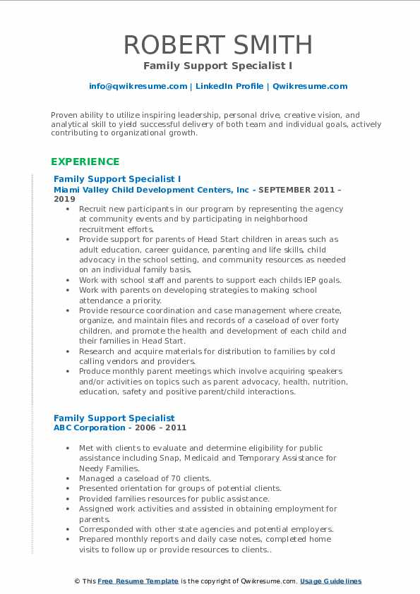 Family Support Specialist I Resume Format