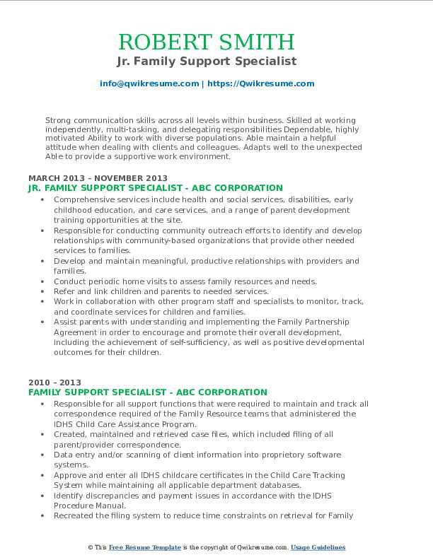 Jr. Family Support Specialist Resume Model