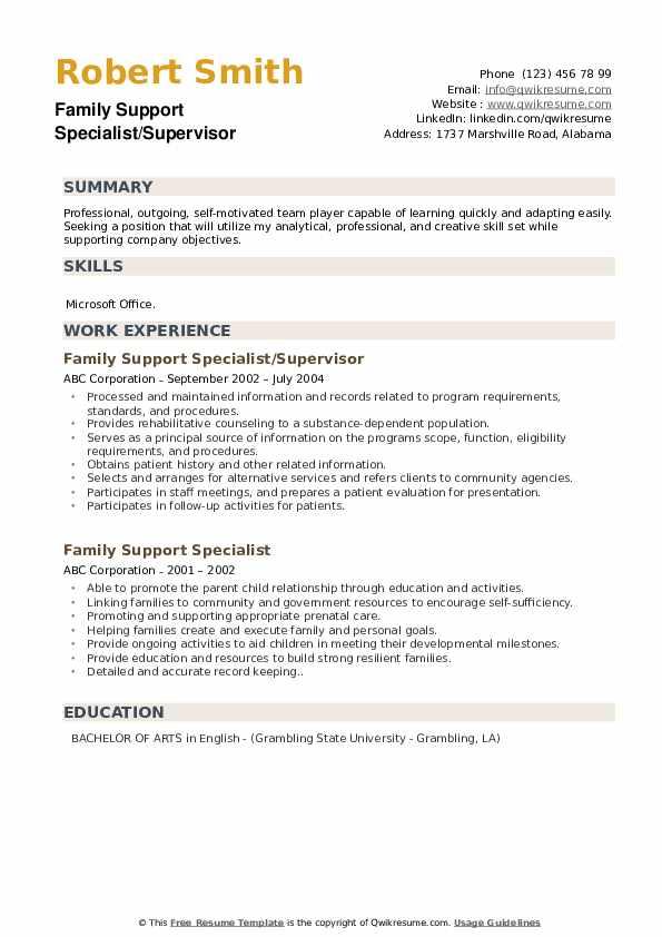 Family Support Specialist/Supervisor Resume Sample