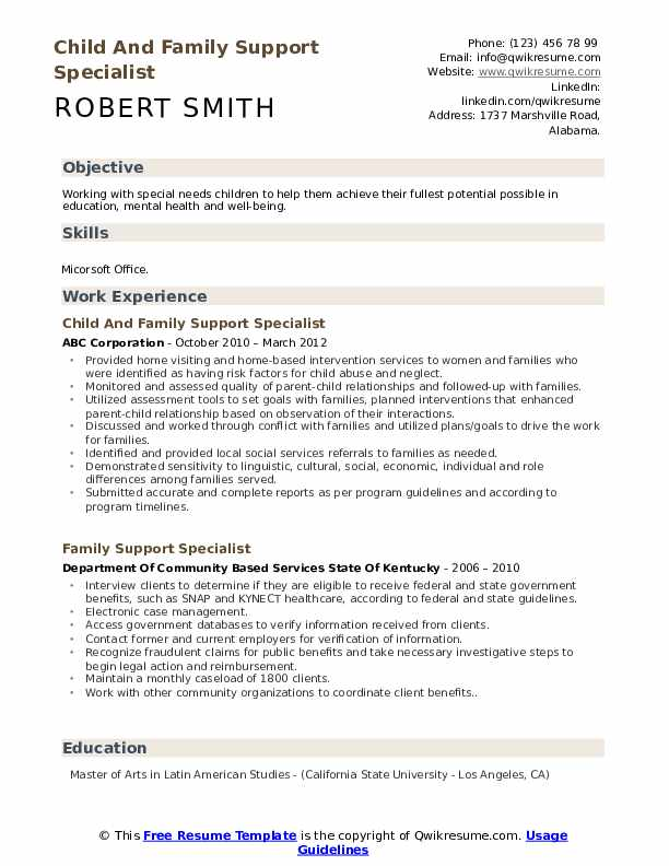Child And Family Support Specialist Resume Sample