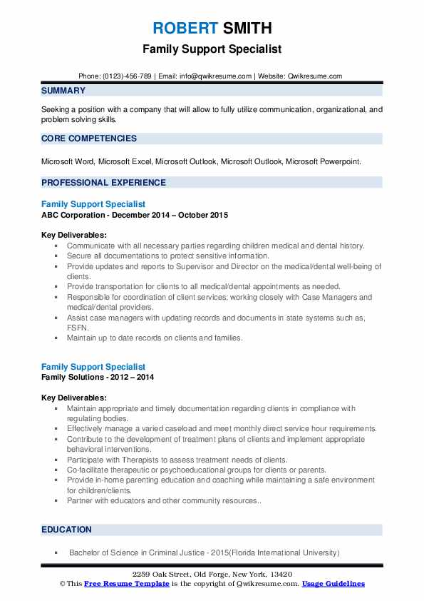 Family Support Specialist Resume example
