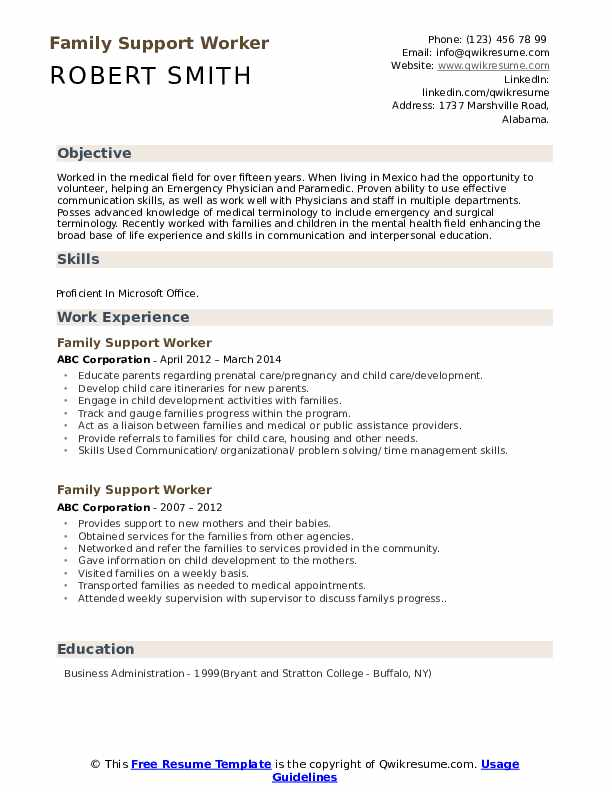 Family Support Worker Resume Template