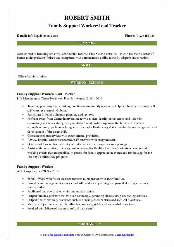 Family Support Worker/Lead Tracker Resume Sample