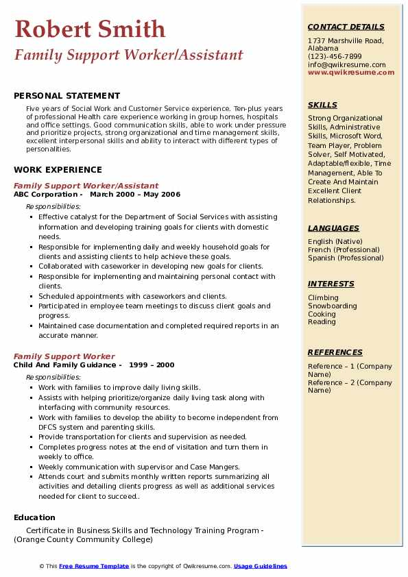 Family Support Worker/Assistant Resume Example