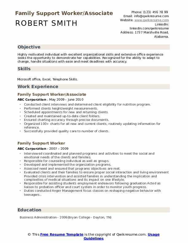 Family Support Worker/Associate Resume Example