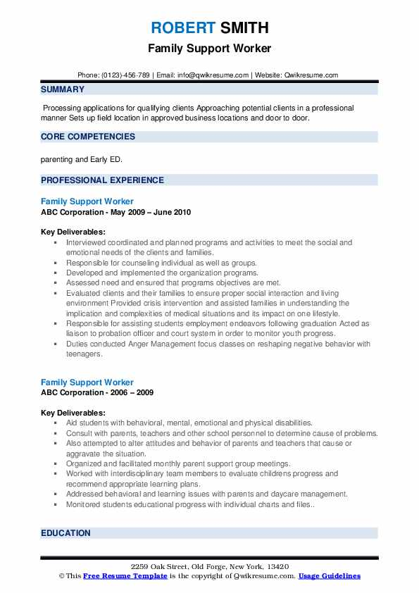 Family Support Worker Resume example