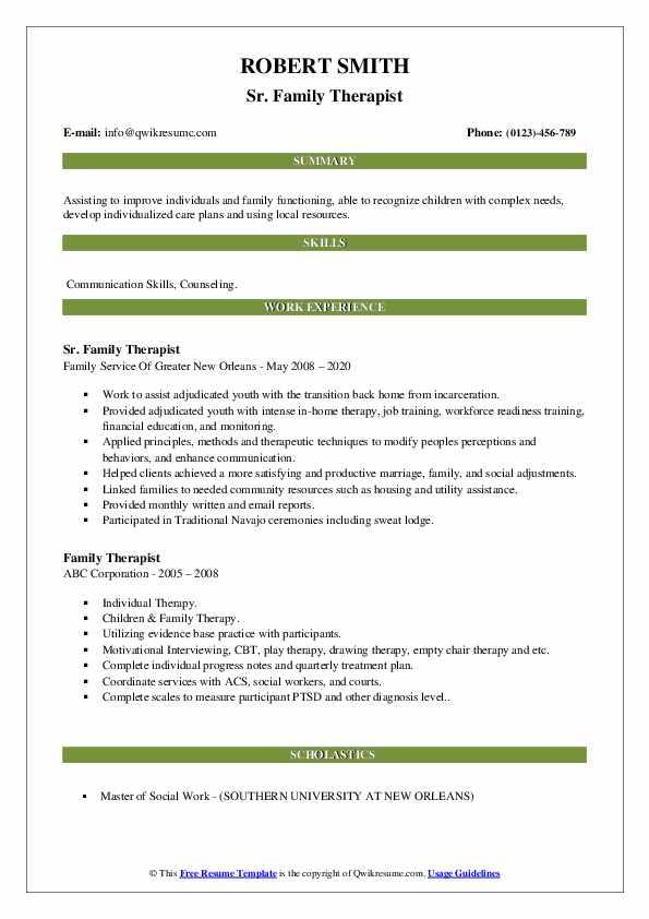 family therapist resume samples  qwikresume