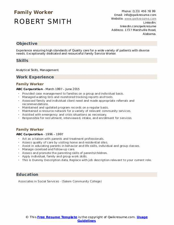 Family Worker Resume example
