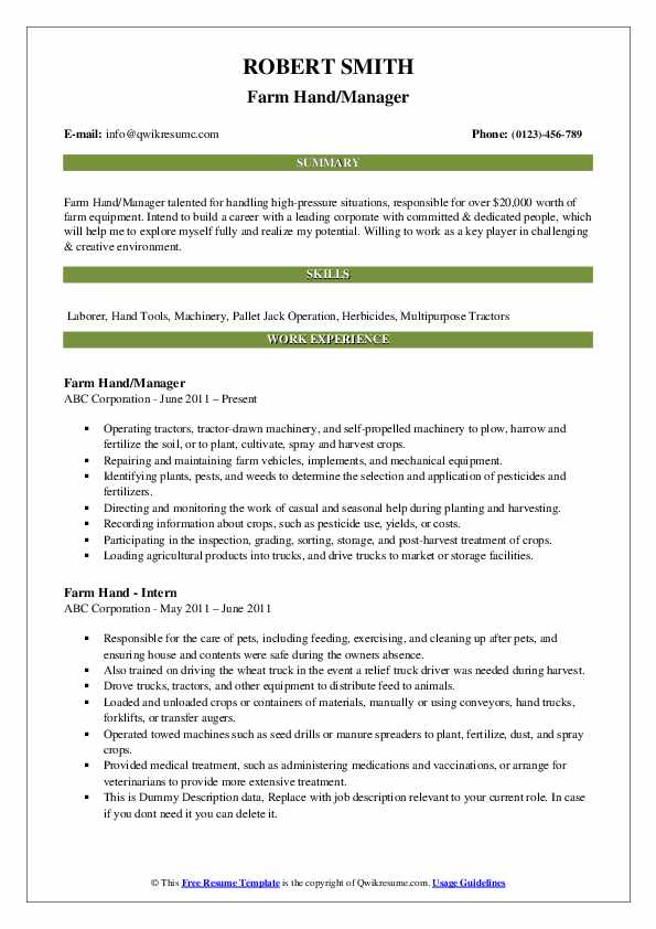 Farm Hand/Manager Resume Format