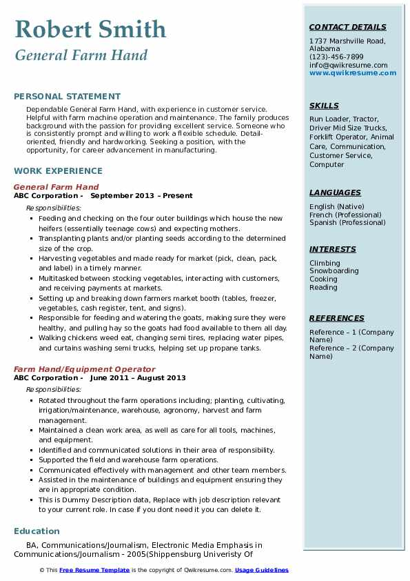 General Farm Hand Resume Model